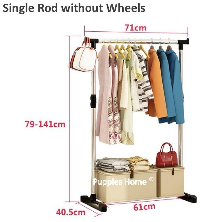 Lowest Price Single Rod Stainless Steel Clothes Drying Rack Pine Wood Laundry Wardrobe Floor Standing Clothing Stand Hat Coat Jacket Hanger