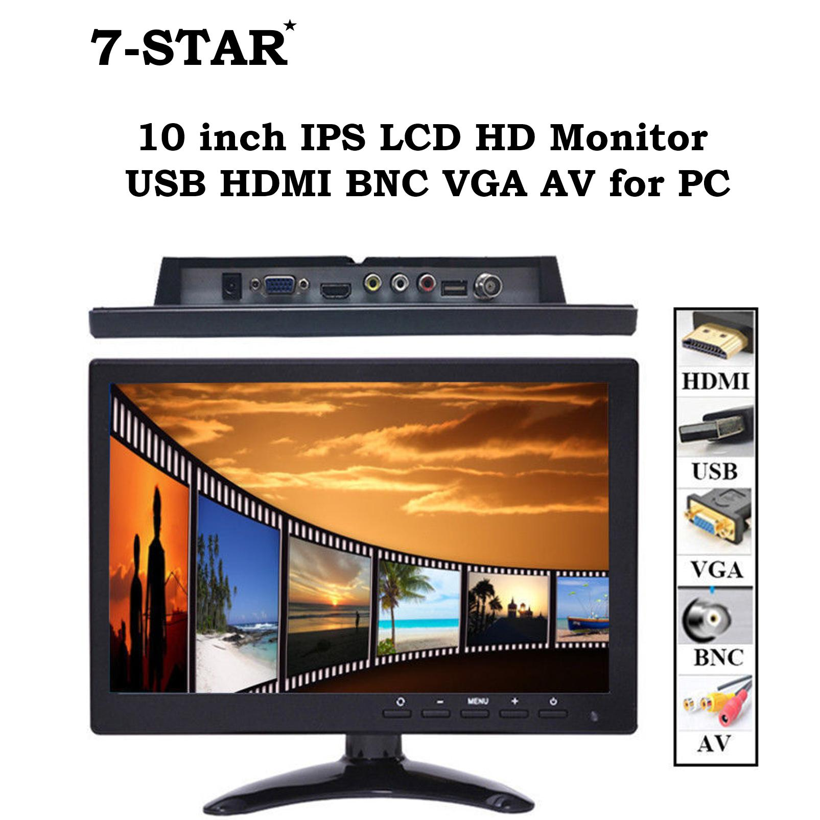 Discount 10 Inch Ips Lcd Hd Led Monitor Usb Hdmi Bnc Vga Av For Pc 10Inch Led Cctv Monitor With Speaker 7 Star