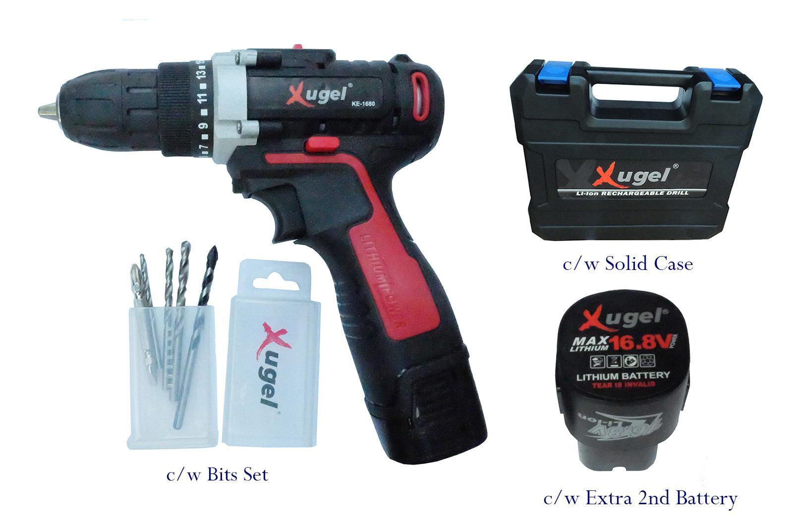 Xugel 16.8V Battery Cordless Drill with 2 Batteries and 5pcs Bits Set Model KE1680