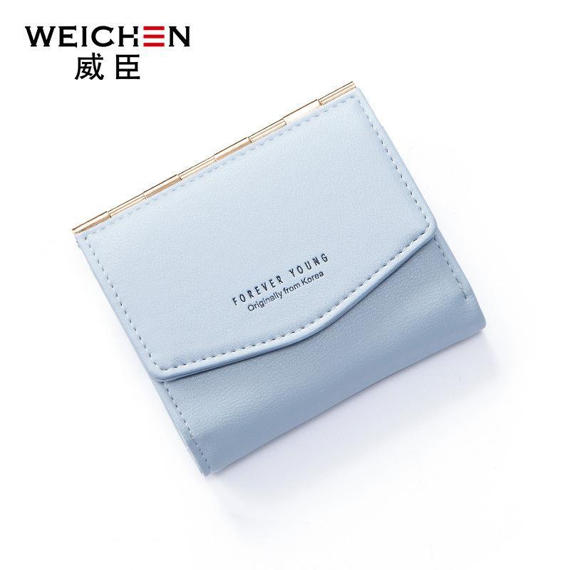 Wesson selamanya dompet muda perempuan pendek dompet logam mode versi Korea dari tiga kali lipat dompet