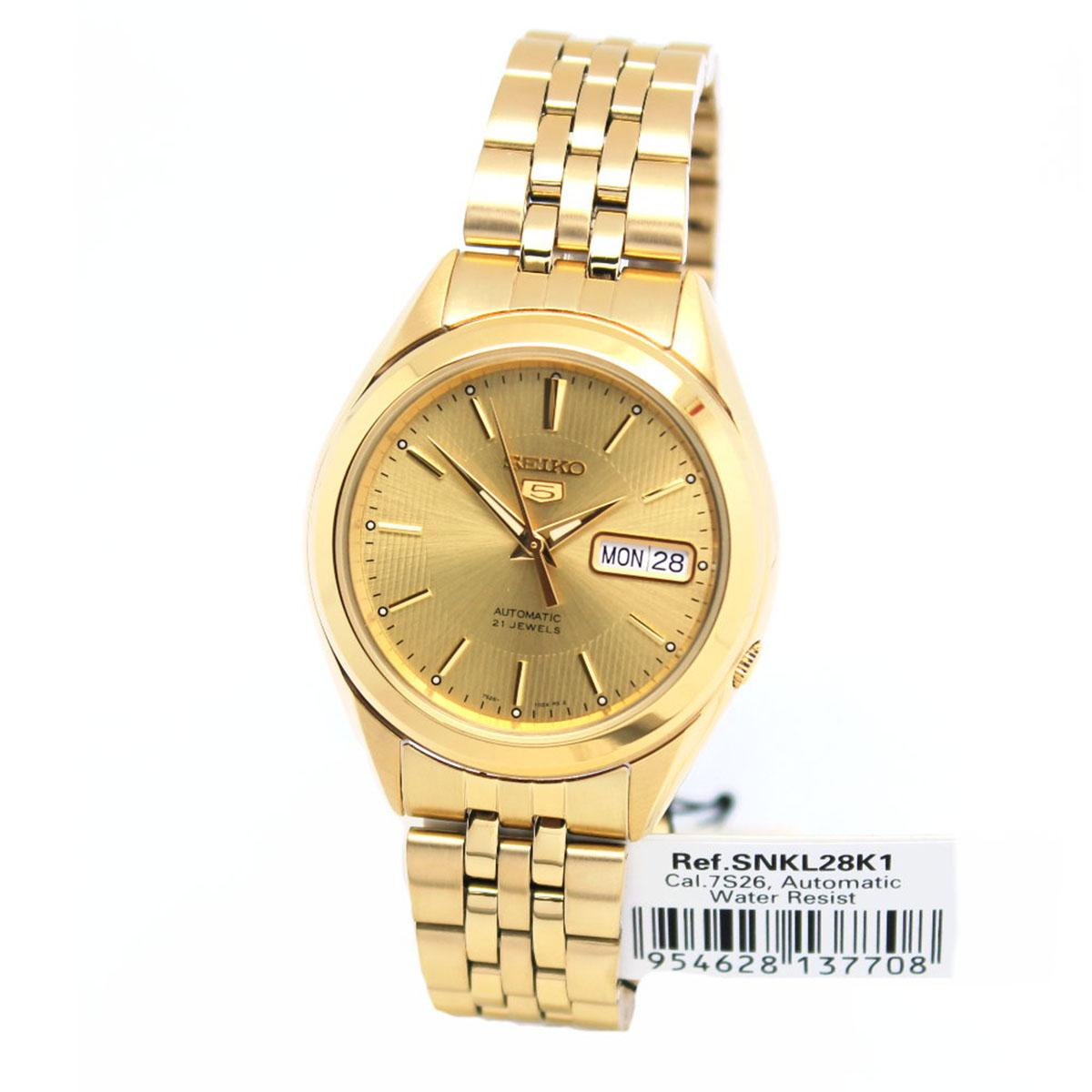 Who Sells The Cheapest Seiko Watch 5 Automatic Gold Stainless Steel Case Stainless Steel Bracelet Mens Snkl28K1 Online
