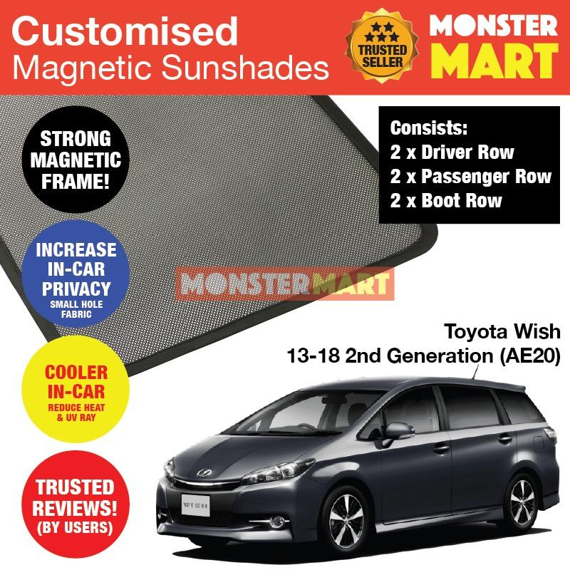 Recent Toyota Wish 2013 2018 2Nd Generation Ae20 Customised Car Accessories Window Magnetic Sunshades 6 Pieces