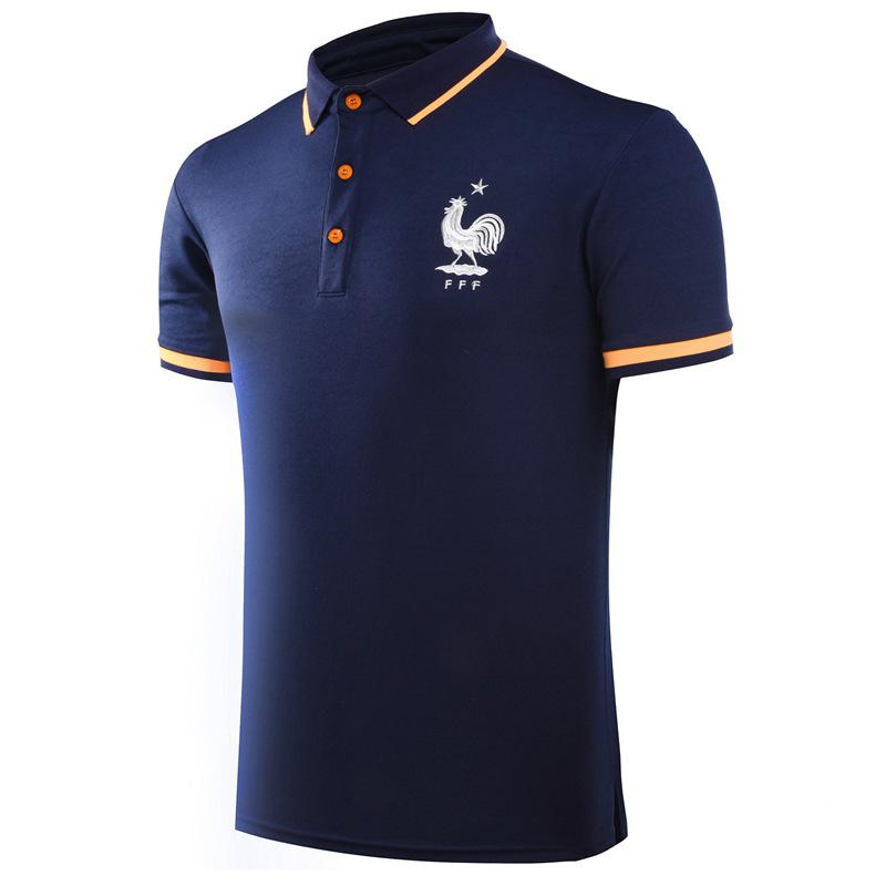 Sale 2018 Sports Soccer Polo Shirt Summer New World Cup French Team Navy Blue T Shirt Polo 2 Online China