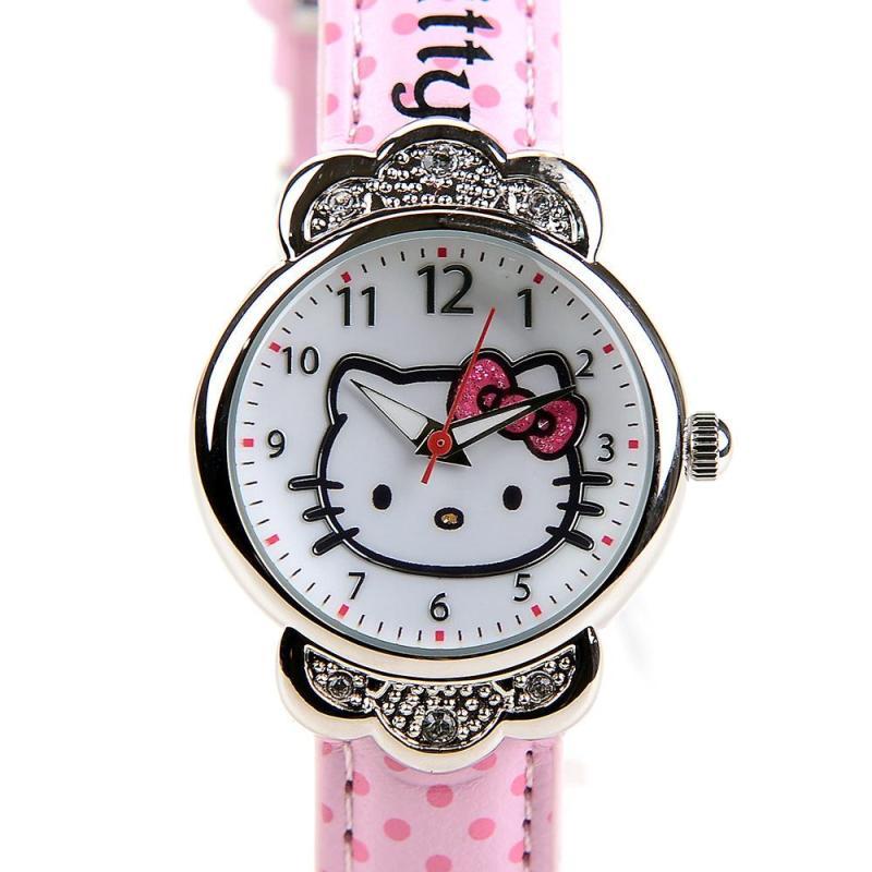 Hello kitty kt cat Hello Kitty Diamond Girl Child Waterproof Belt Watch Malaysia