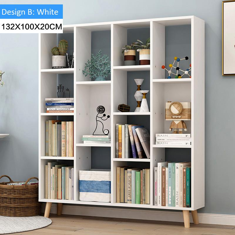 Modern Multi-Function Wooden Bookcase Shelf(Design B :White)
