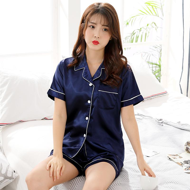 51f07491d69 Pajamas women Summer Ice Silk Home Service Short Sleeve Cardigan Two-Piece  Set Summer Korean