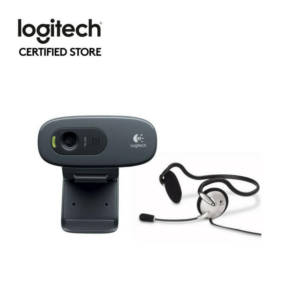Logitech C270H 720P Mini Webcam with Headsets for Video Call / Conferencing