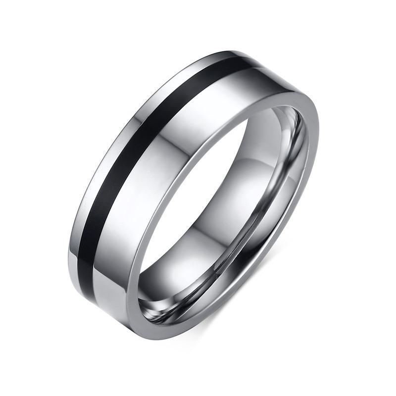 Vnox Hitam Pernikahan Band Cincin untuk Wanita Pria Trendi Aliansi Jari Cincin Perhiasan-Intl