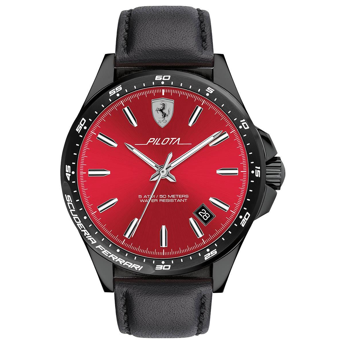 Ferrari Ferrari Pilota Black Stainless-Steel Case Leather Strap Mens NWT + Warranty 0830525