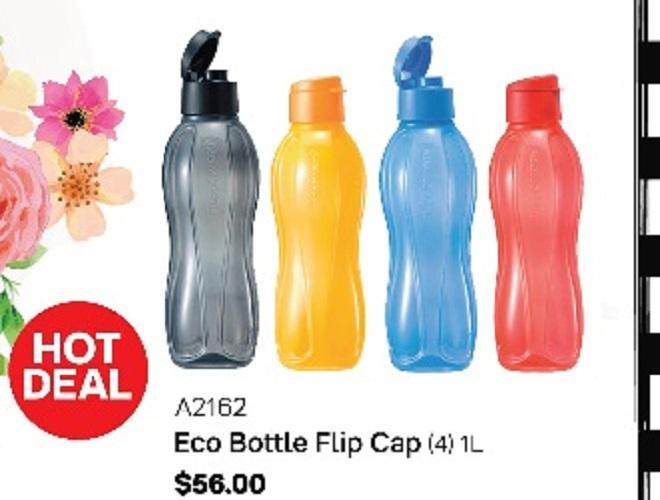 Tupperware 1L eco bottle flip cap 4pcs/set