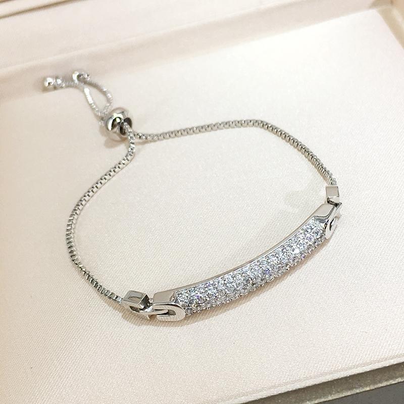 【Gelang berbentuk hati, berlian ungu 】925 perak murni empat daun semanggi sterling perhiasan