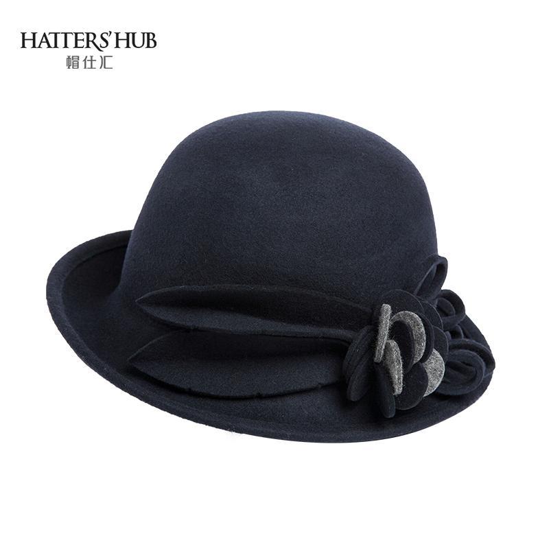 Topi Shi Hui topi musim dingin perempuan Gaya Korea Topi Kempa Atas Bulat  wol topi nelayan b302bd287a