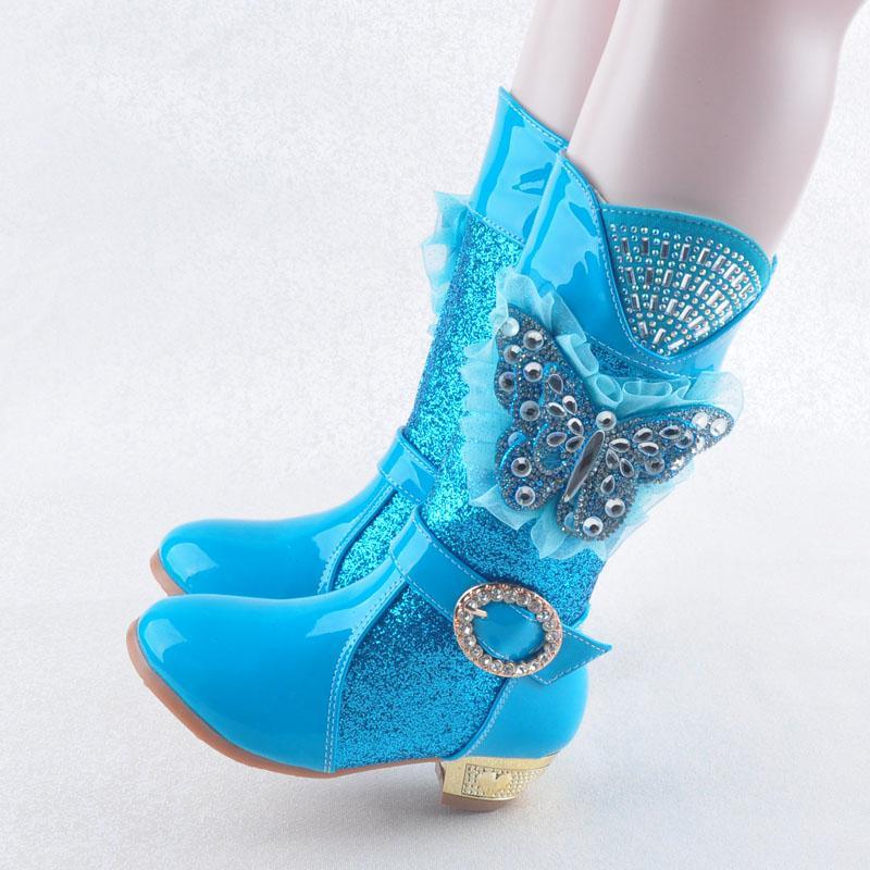 Giá bán 2017 Mùa Thu Và Mùa Đông Cô Gái Giầy Cao Gót Bốt Kiểu Hàn Quốc Công Chúa Giày Cotton Trẻ Em Bốt Cao Cổ Nhỏ Gái Kim Cương Bốt