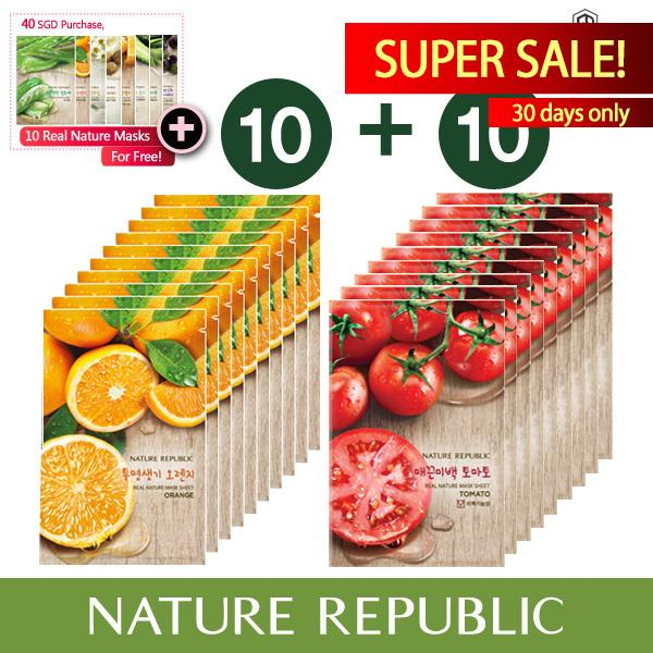 Sale Nature Republic Real Nature Mask Sheet X 20 Orange 10Ea Tomato 10Ea South Korea Cheap