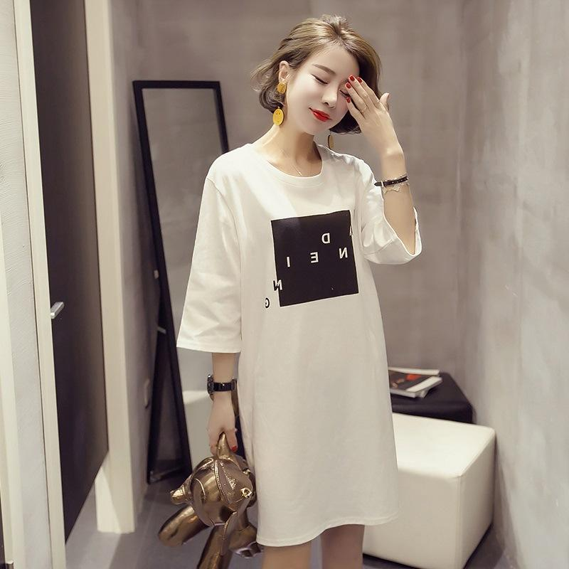 13ec53d9389 Women Dress Casual Korean Long T-shirt Skirt White Tshirt Letter Print Plus  Size Loose