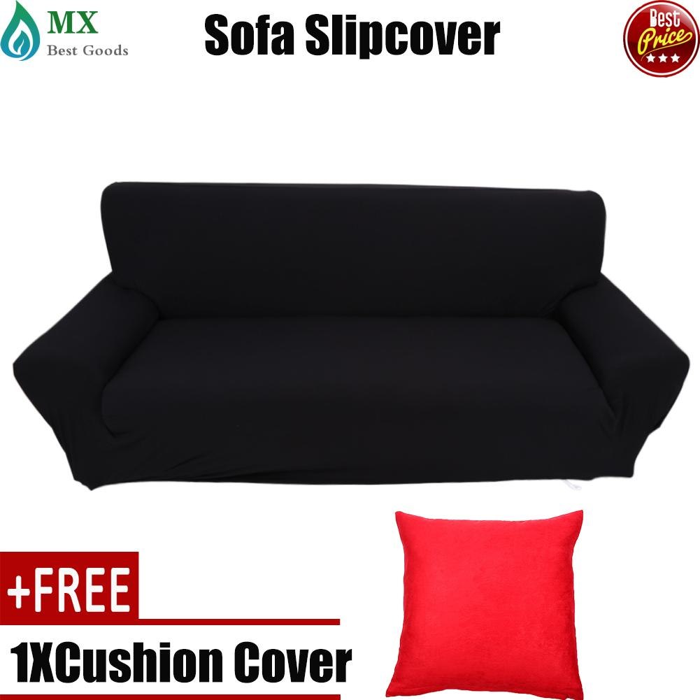 [buy 1 get 1 free gift] Full stretch Sofa covers couch Slipcover Elastic Protector for 3 seater Black