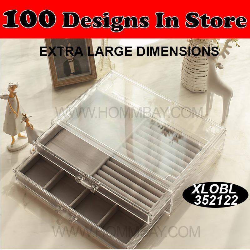 Sale Jewellery Lipstick Brush Brushes Jewelry Rings Earrings Necklaces Watches Accessories Accessory Organizer Organser Clear Acrylic Transparent Makeup Makeup Storage Box Holder I Extra Large I Stackable I Xlobl 35 Tray 21 Tray 22 Hommbay On Singapore