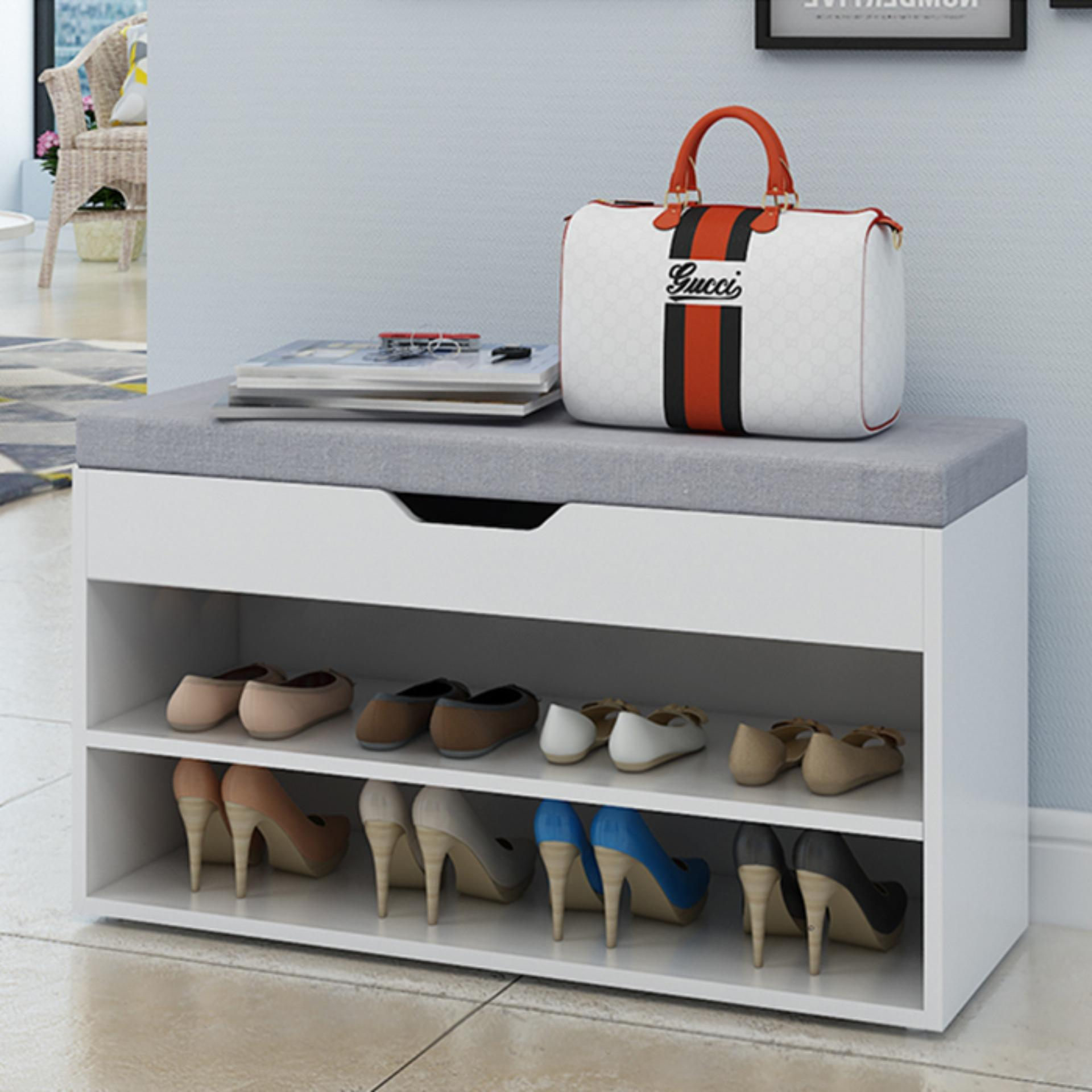 Bench with Shoe Storage (Off-White)