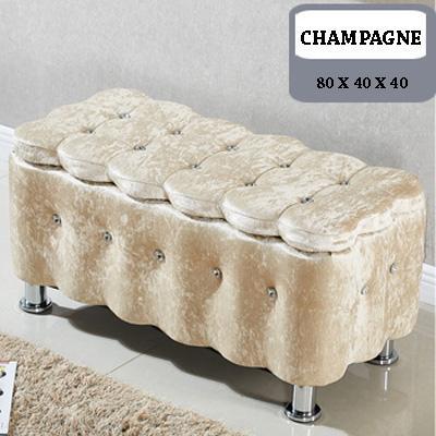 Premium Italy European Flannel Grade Storage Stool (80 x 40 x 40)