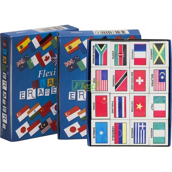 Retail World Flag Eraser 3Bxs