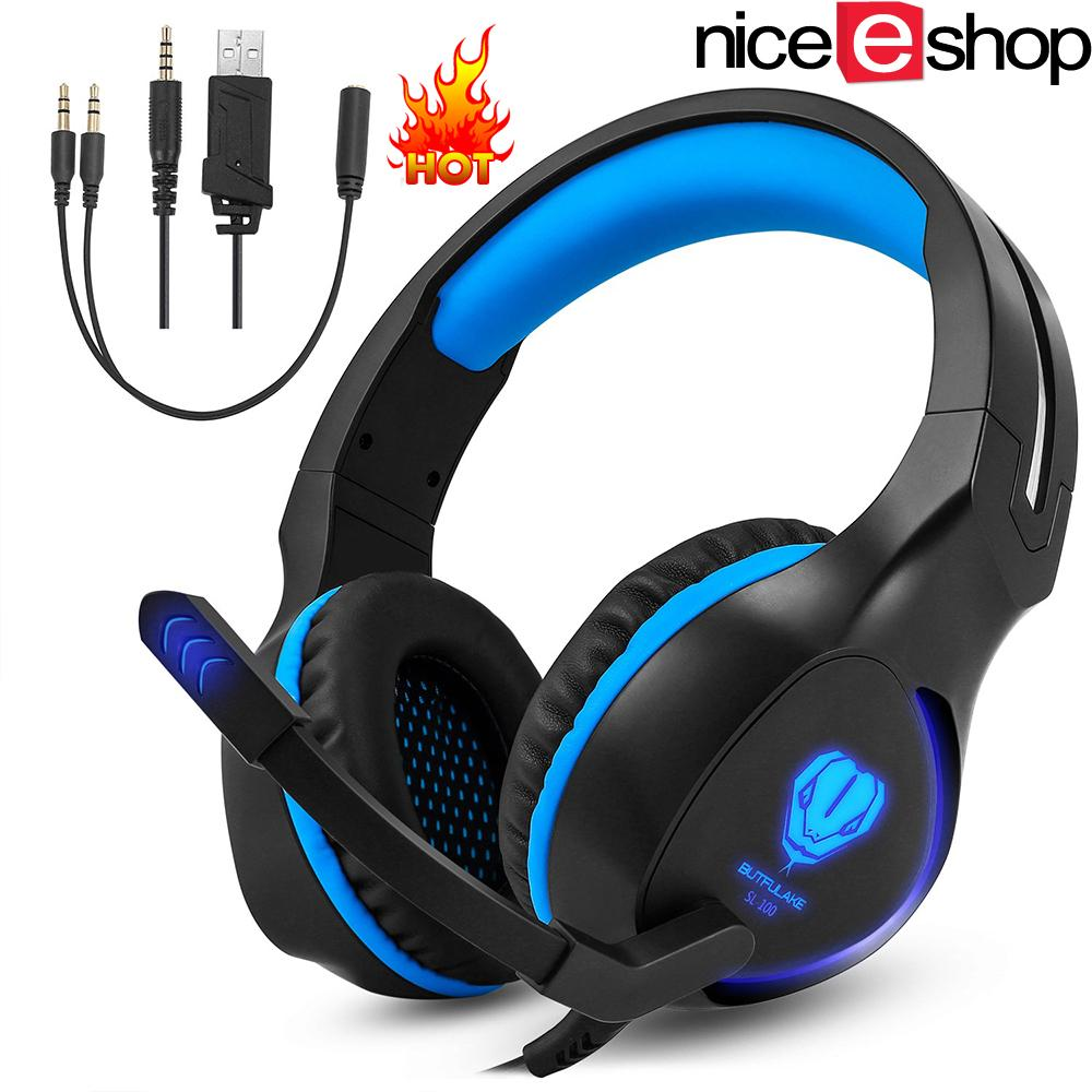 niceEshop 3.5mm Game Gaming Headphone Headset Earphone Headband With Microphone LED Light For Laptop Tablet Mobile Phones Mobile Phones Or PS4 XBOX ONE