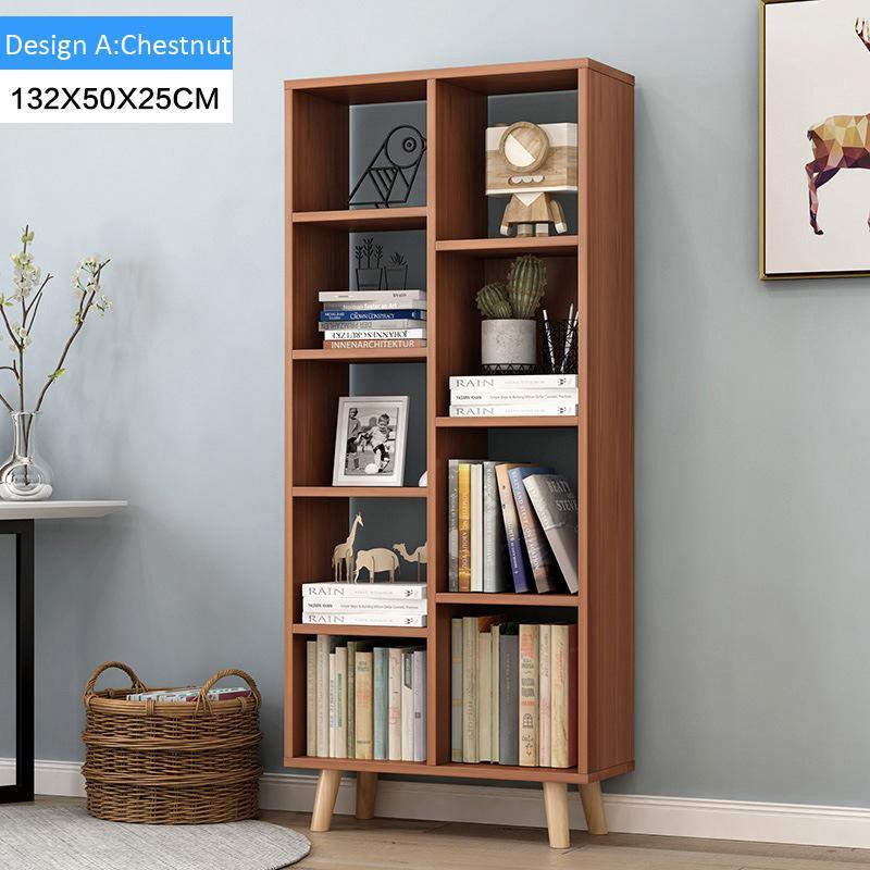 Modern Multi-Function Wooden Bookcase Shelf(Design A :Chestnut)