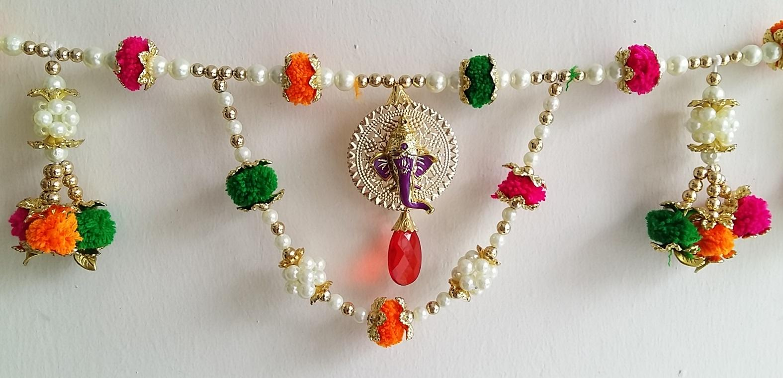 Door Hanging Toran Indian Decorative Hanging With Moti Gonda, Cream Golden Pearls Ganesha