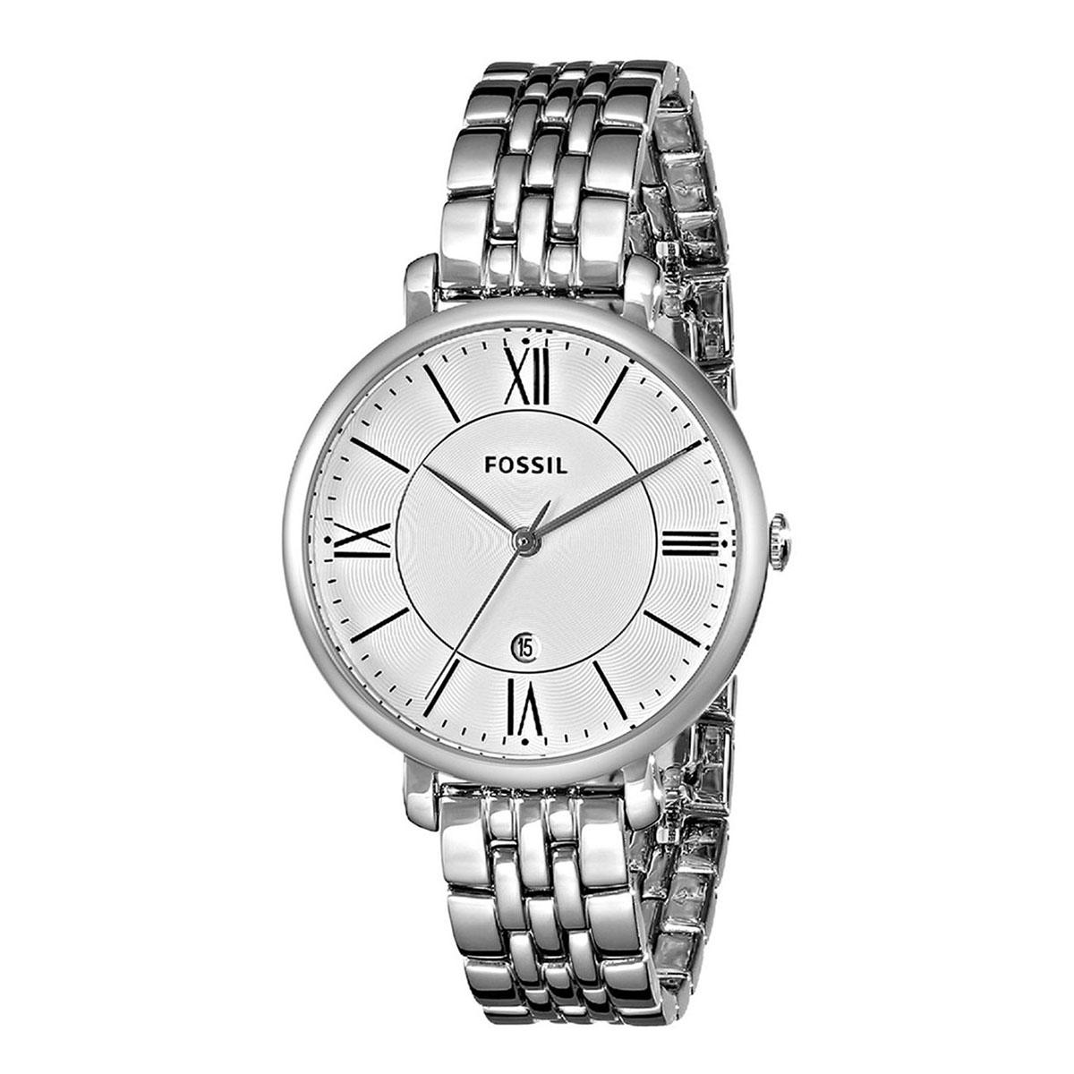 Sale Fossil Watch Jacqueline Silver Stainless Steel Case Stainless Steel Bracelet Ladies Es3433 Fossil Cheap