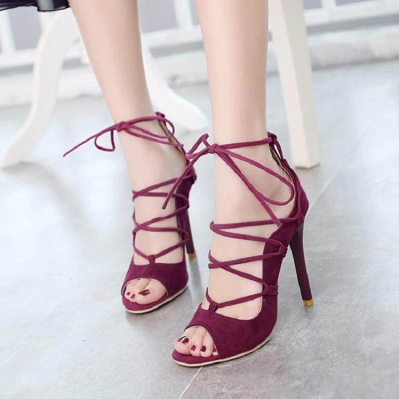 Buy European And American Waterproof Platform Lace Up Open Toed Gladiator Sandals Women S Shoes Online