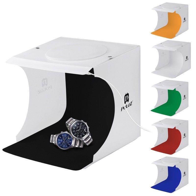 FIXON9657 Puluz Mini Studio Portable Folding Photo Light Lighting Box Double LED Panel Cube