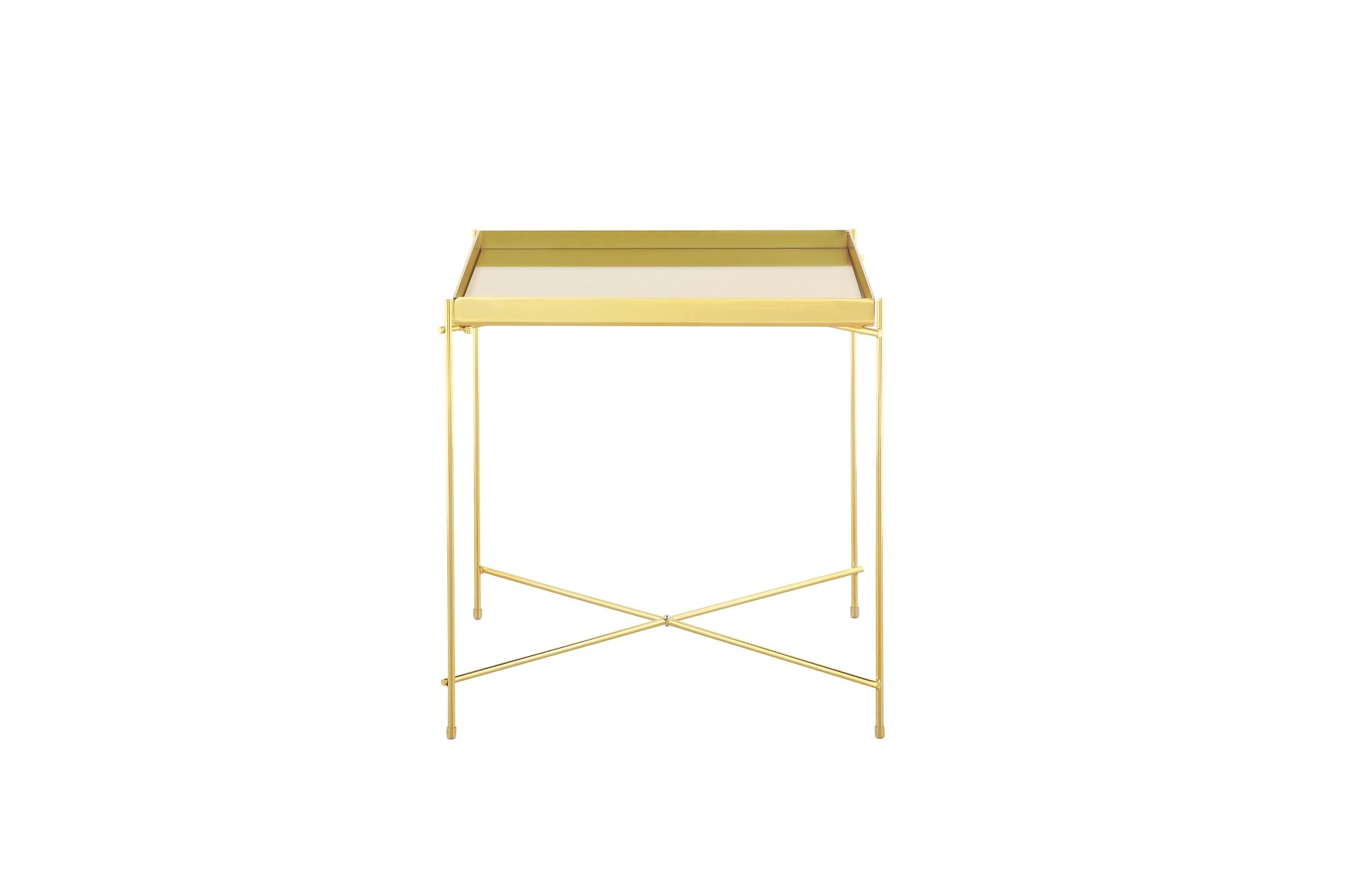 Oakland Gold Metal Mirror Side Table - Square