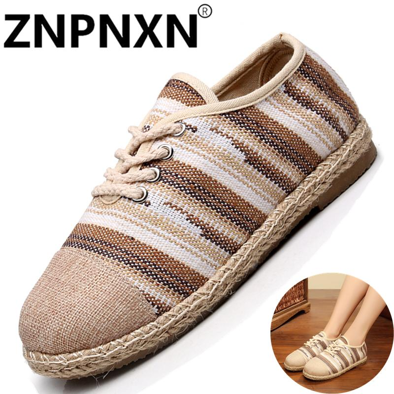 ZNPNXN Thailand Folk Style Casual Wild Female Single Shoes Cotton Striped Flat Bottom Breathable Straw Shoes - intl