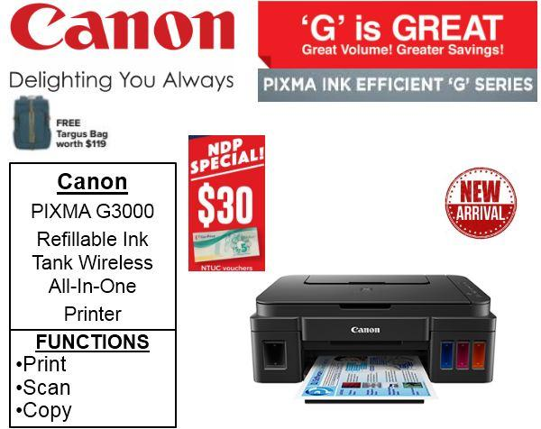 canon pixma g3000 refillable ink tank wireless all in one printer
