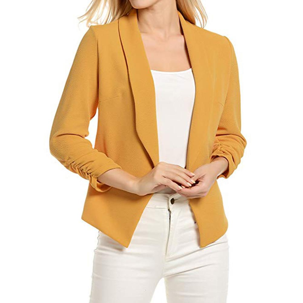 Lvs Women 3/4 Sleeve Blazer Open Front Short Cardigan Suit Jacket Work Office Coat By Lvshoping.