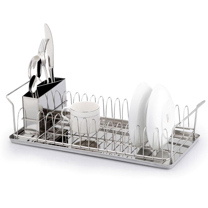 Kitchen stainless steel single layer drying rack dish rack