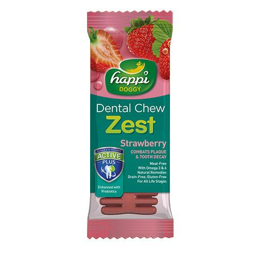 50 X Happi Doggy Dental Chew Zest Strawberry 4' 25g By Theonepet.