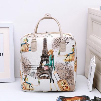 Tas perjalanan portabel berkapasitas besar kartun kulit PU fesyen Korea tahan air, tas bagasi perjalanan