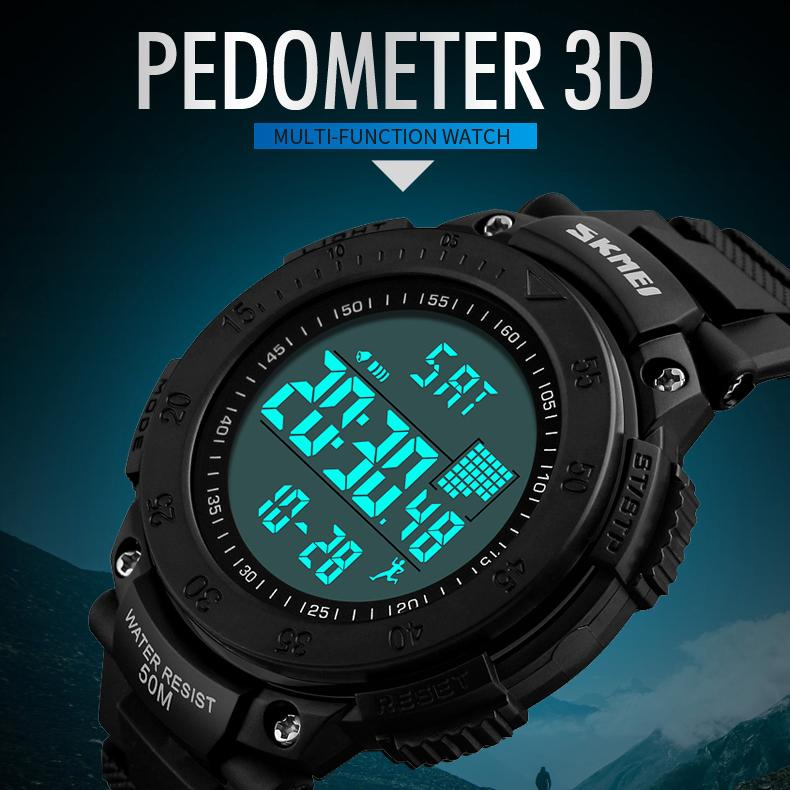 SKMEI Brand Men Sports Watches 3D Pedometer Multifunctional Relojes Waterproof Relogio Masculino LED Digital Wristwatches Malaysia