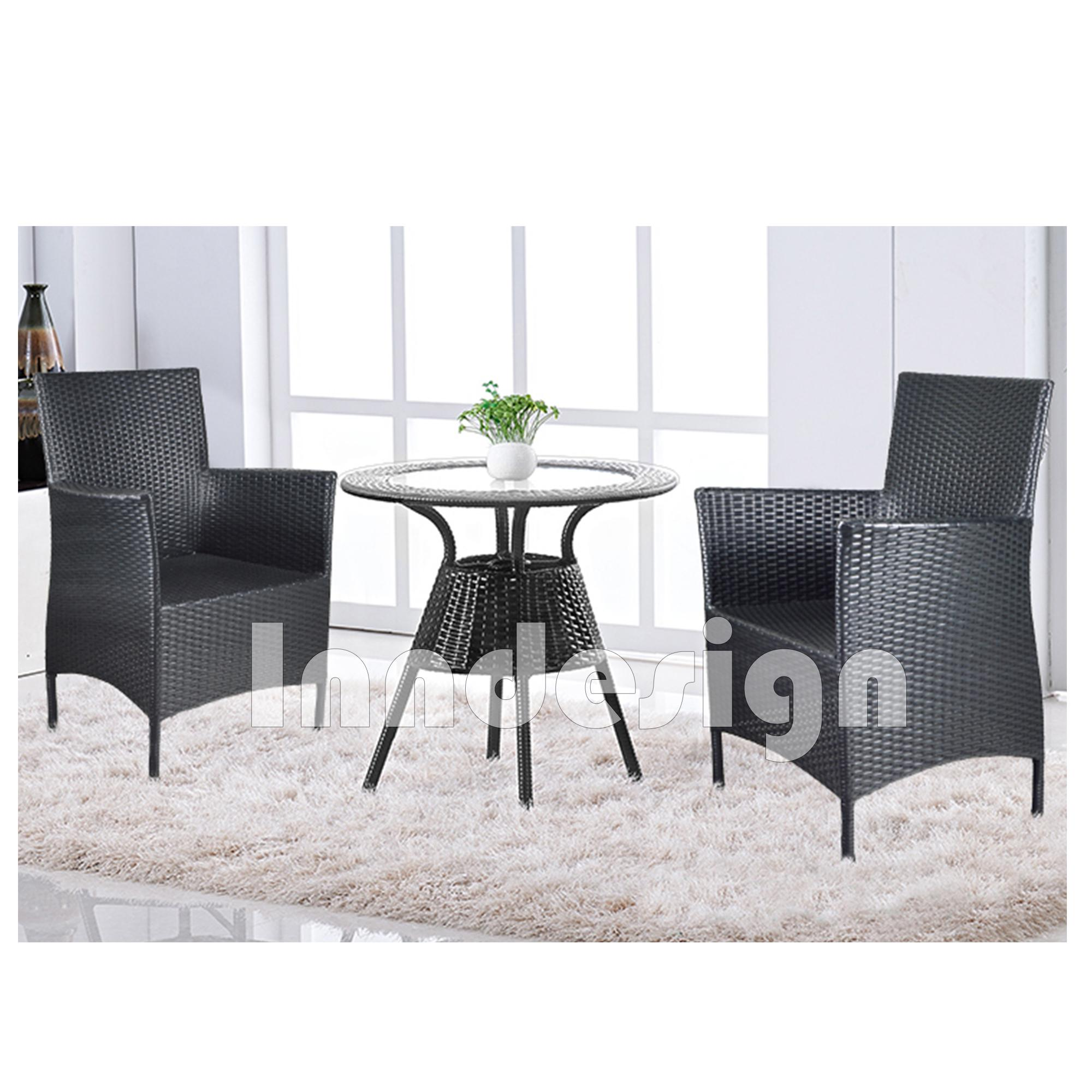 Rattan 1+2 Set Garden Set / Outdoor Dining Table Set / Coffee Table / Lounge Set ( Black)