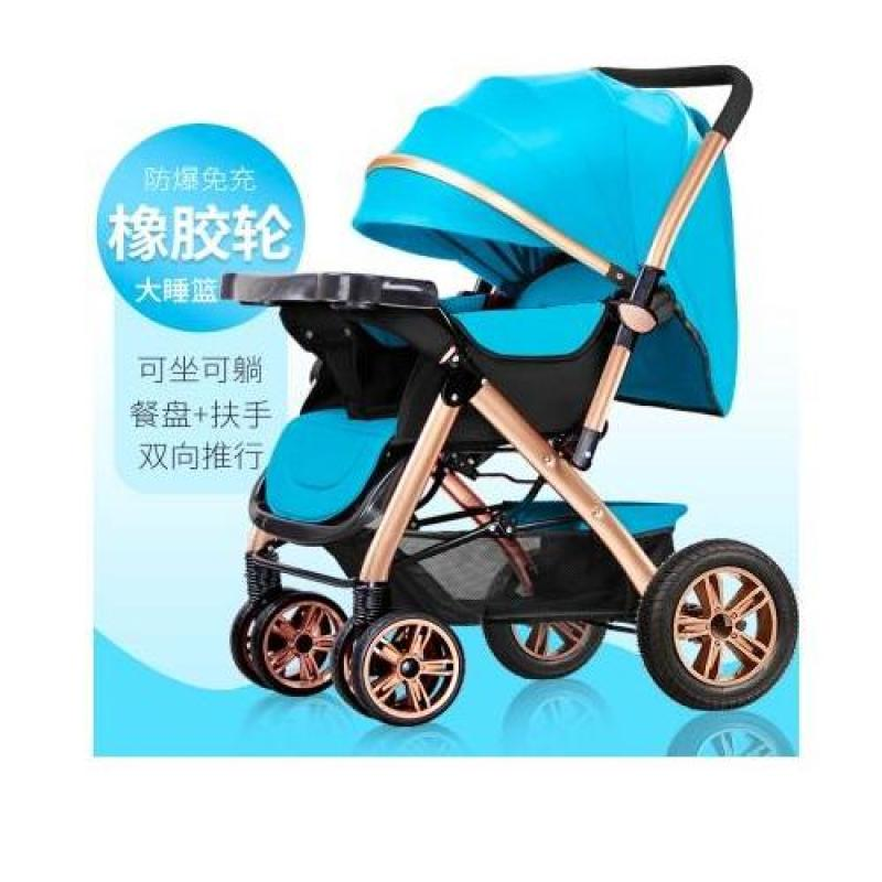 RC-Baby&kids 2018 Deluxe Model Gold Suspension Frame Two-Way Reversible Back Adjustable High Quality Six Wheels Design Portable Baby Carriage Stroller (Sky Blue) Singapore