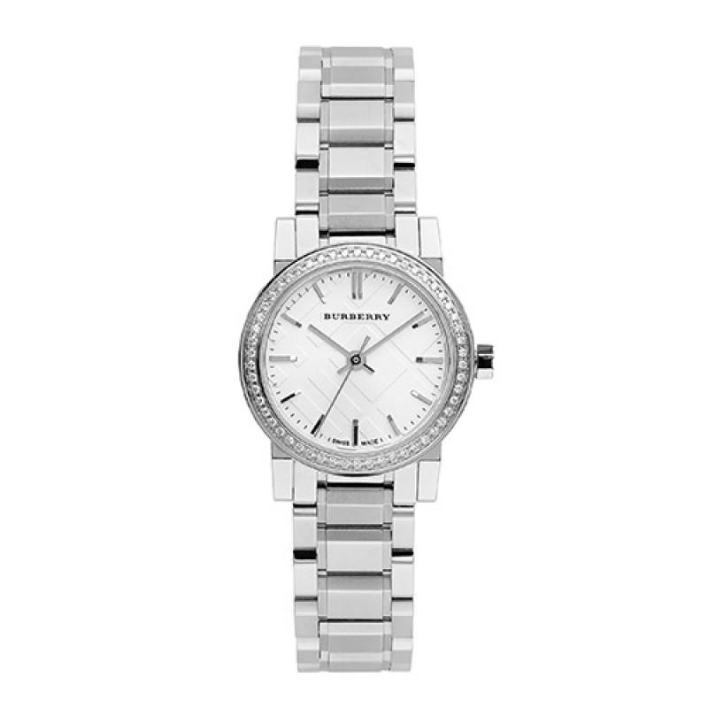 Burberry Stainless Steel Band Crystal Bezel Ladies 26mm Watch Bu9220 By Watch Centre