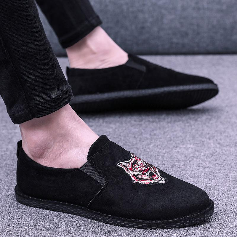 Lazy Korean-style men's breathable leather shoes moccosins