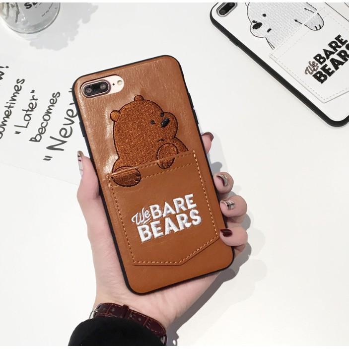 YSJS Trade Hot Beruang Kartun Lucu Bordir Kulit Casing Ponsel dengan Saku Kartu untuk iPhone Spesifikasi: Iphone 8G/7G (4.7)