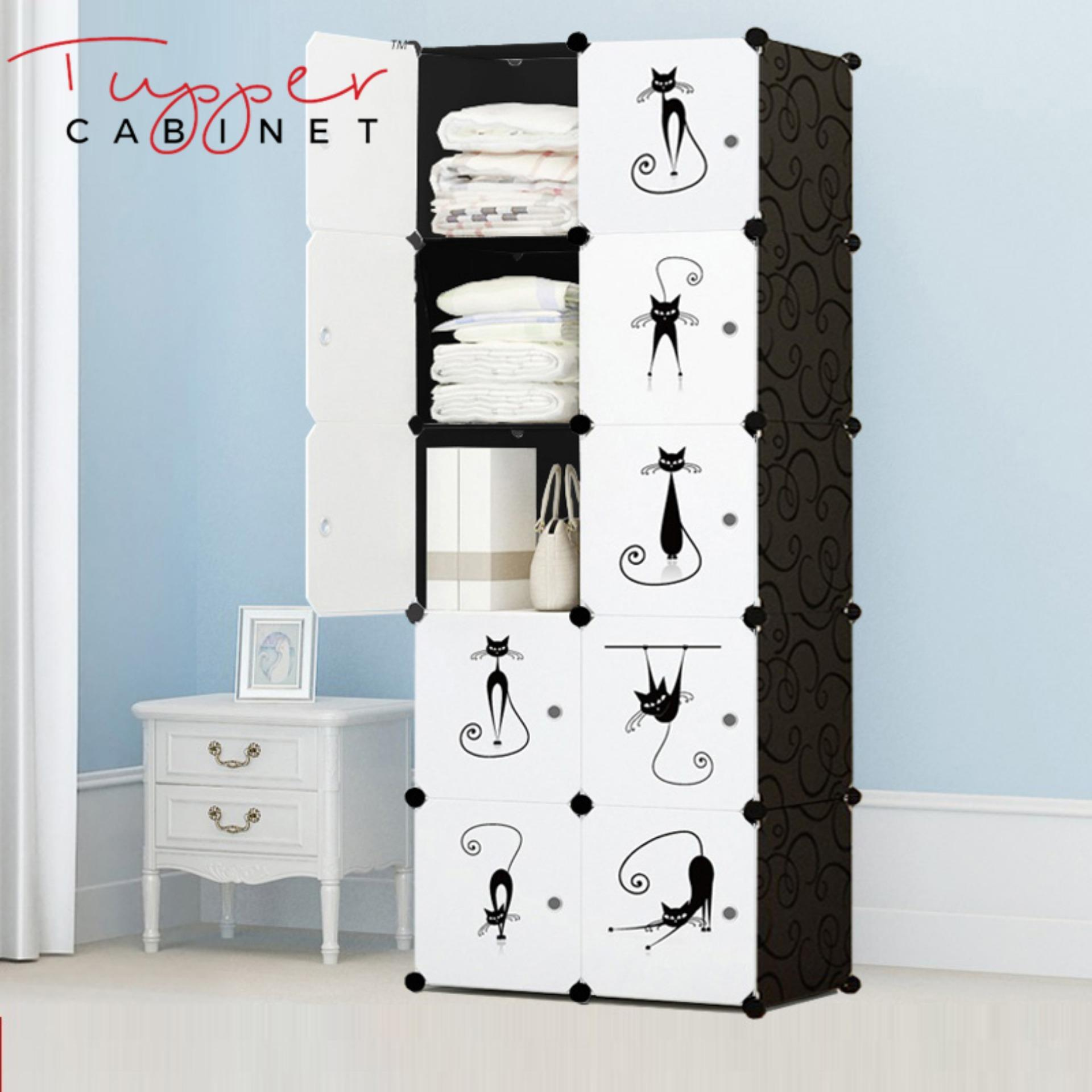 Promo Tupper Cabinet 10 Cubes Lazy Cat Diy Storage Cabinet Elegant Black