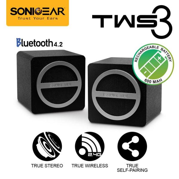 TWS 3 True Stereo Wireless (Self-Pairing) Speaker System By SonicGear Singapore