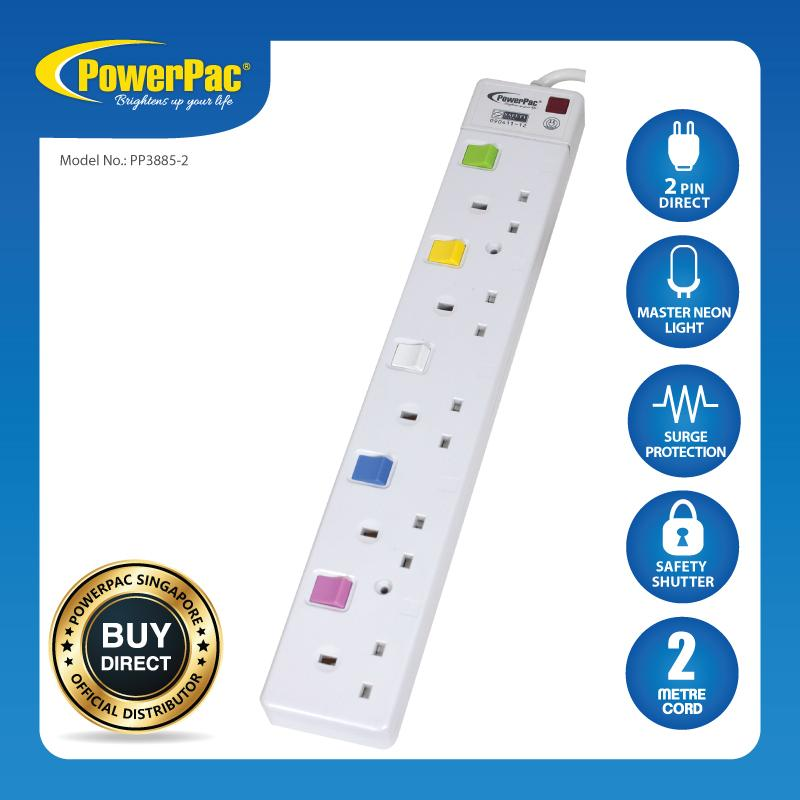 Cheapest Powerpac 5 Way Safety Extension Socket With Individual Switch Pp3885 2 Online