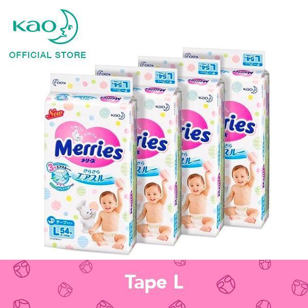 Merries Tape Diapers L54s x 4 packs (9 - 14 kg)
