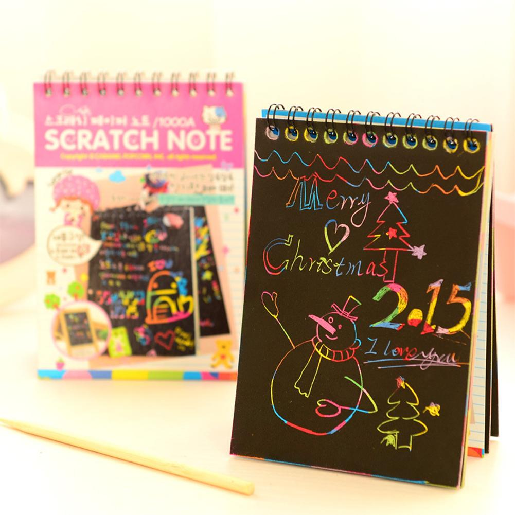 Happy-10-Sheet Graffiti Scratch Note Black Cardboard Notebook Creative Diy Scraping Drawing Paper Notes Color Random Gifts By Hhhappy Store.