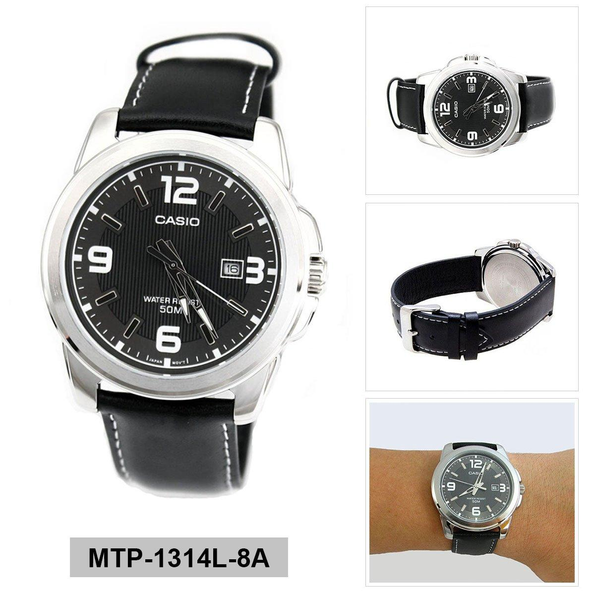 Casio Watch Enticer Black Stainless Steel Case Leather Strap Mens Mtp 1314L 8A Review