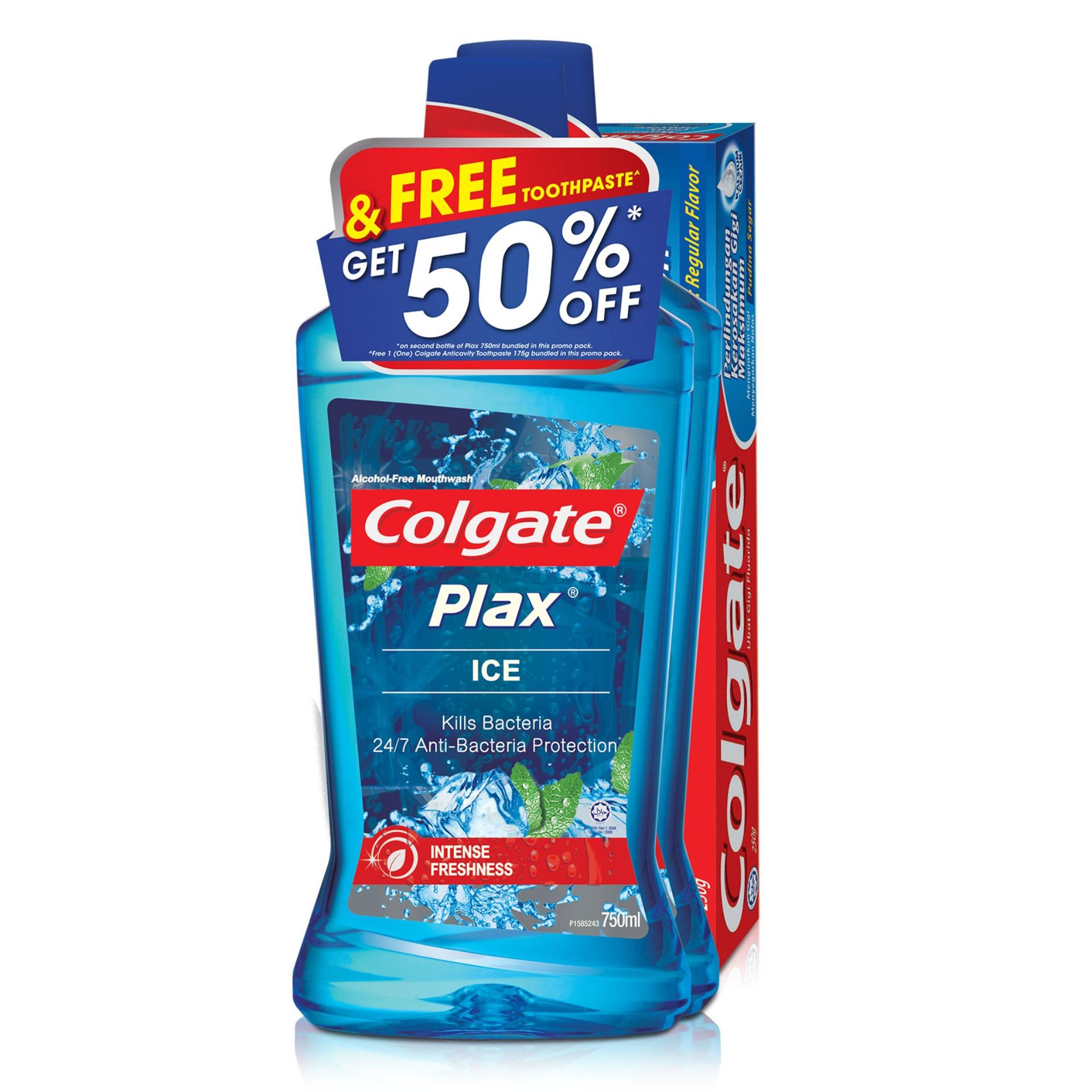 Review Colgate Plax Ice Mouthwash 750Ml Twinpack Free Colgate 175G Toothpaste Singapore